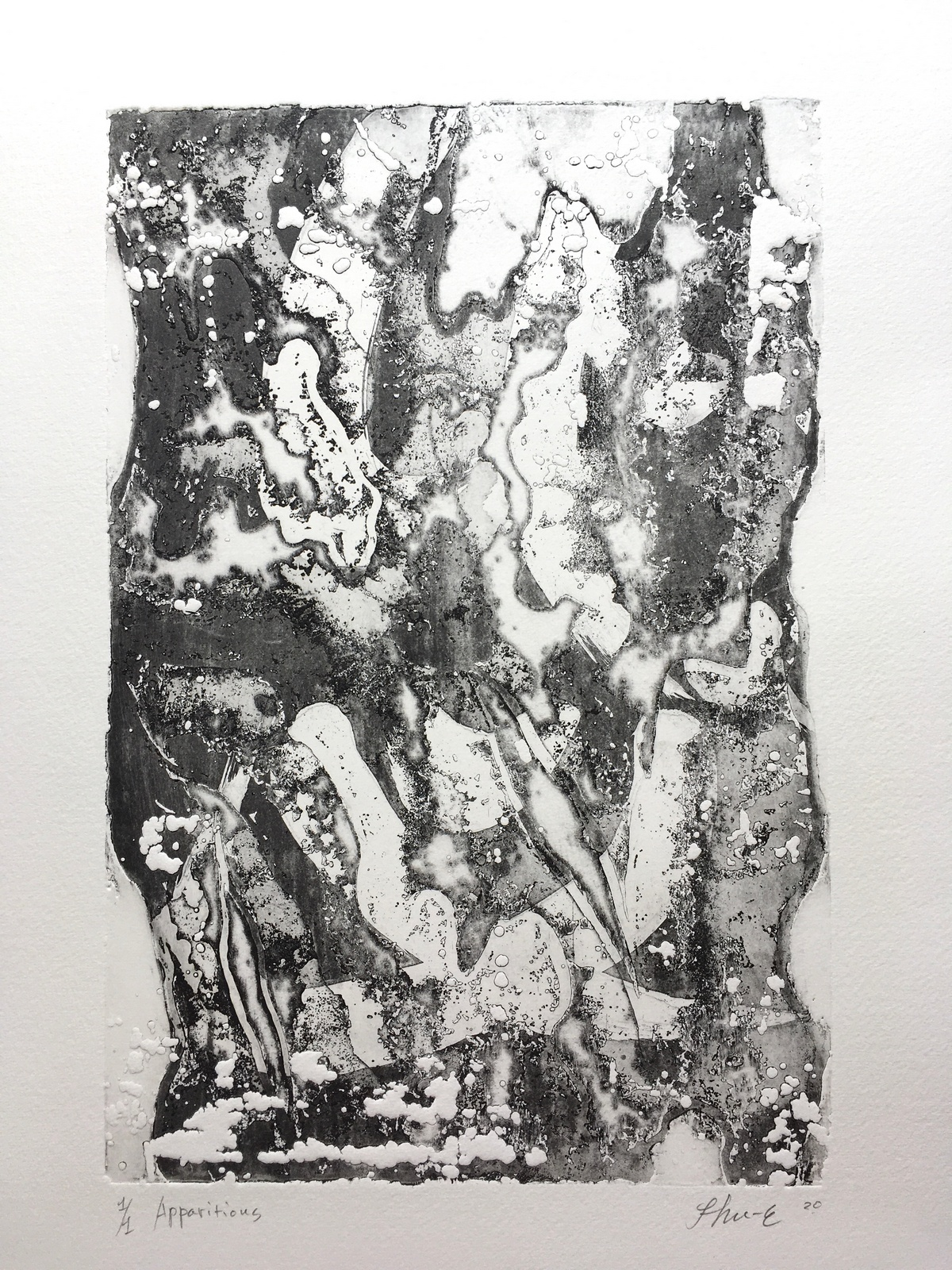 Apparitions-1/1  39×56  2020 – Technique : embossing etching