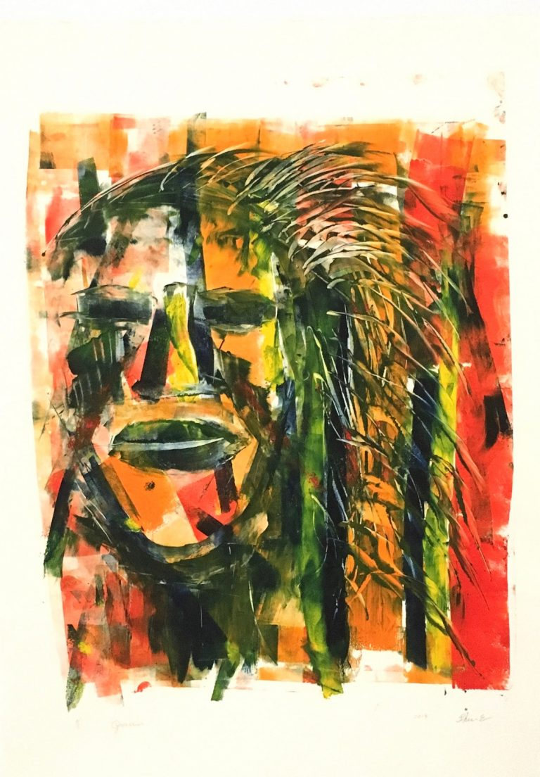 Guerrier 56×78  2018 – Technique : monotype