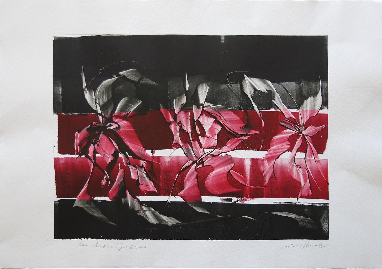 Les trois grâces 40×60  2017 – Technique : monotype – Collection privée