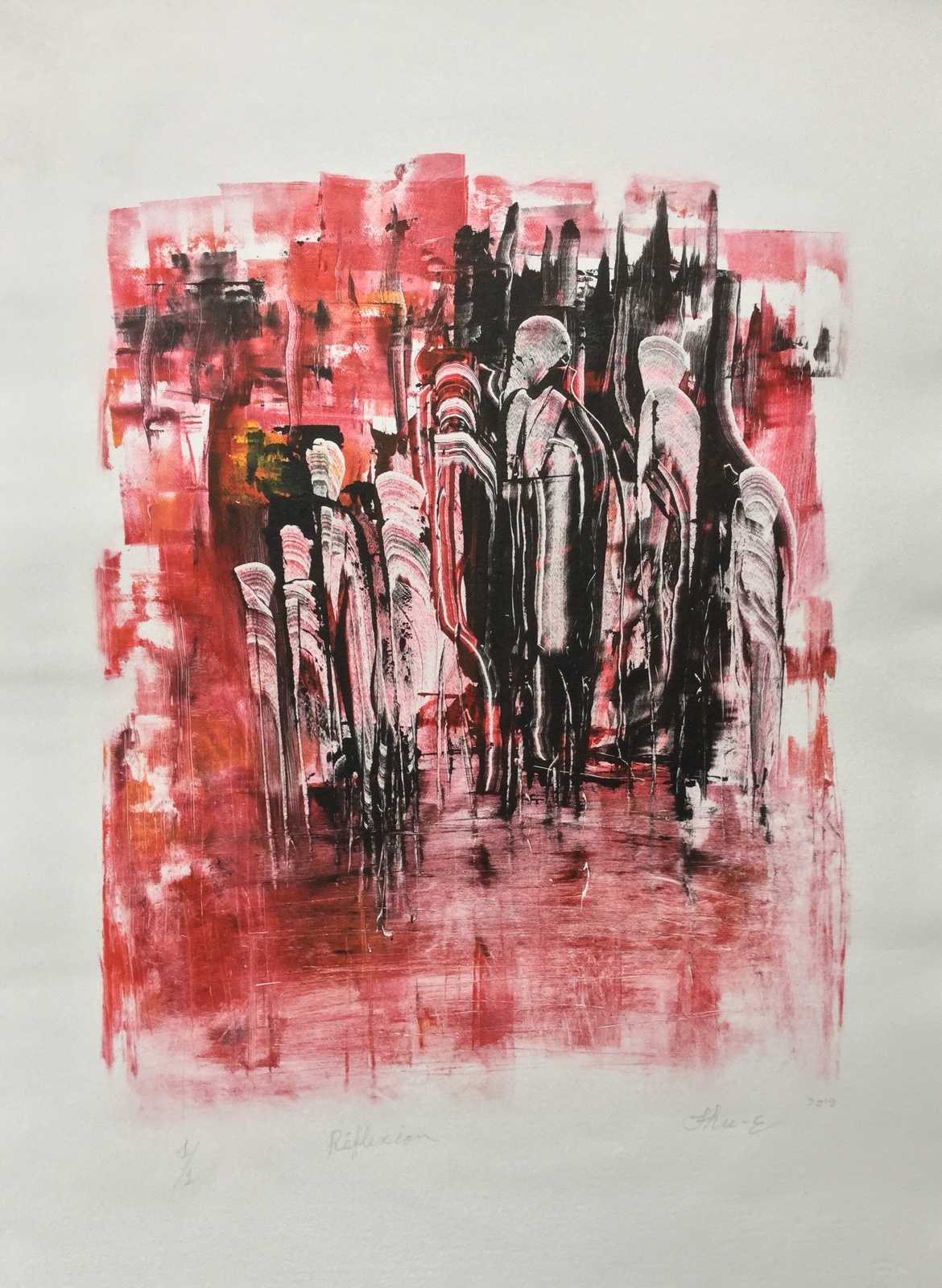 Réflexion 56×78  2019 – Technique : monotype – Collection privée